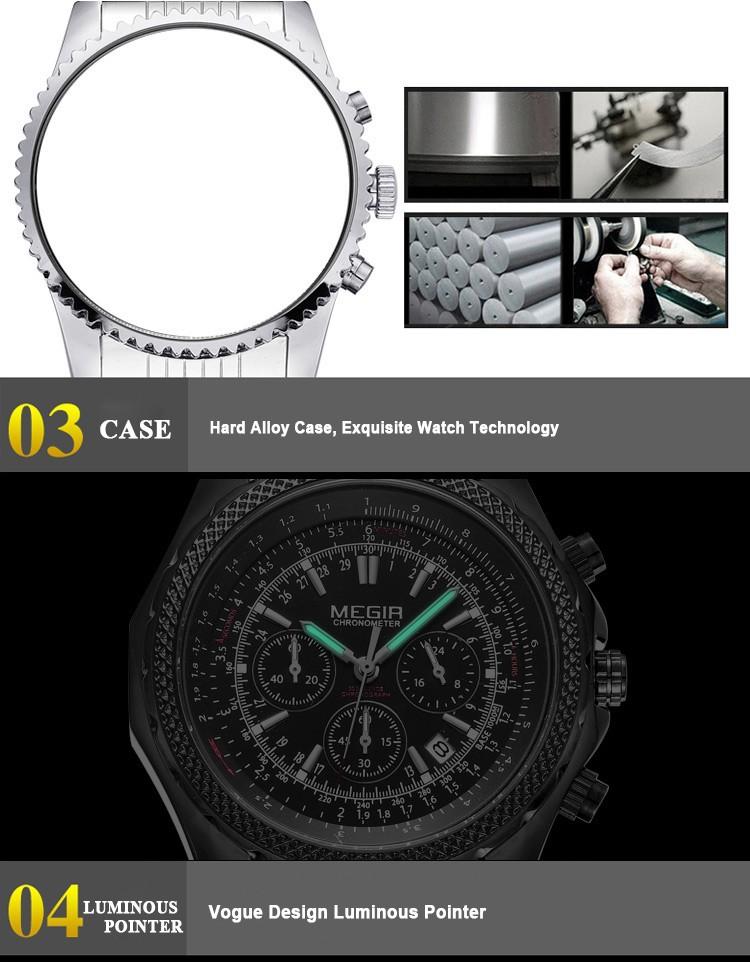Мода Повседневная Часы Световой Хронограф Авто Дата Мужчины Часы Полный Стали Смотреть MEGIR 2513 Бесплатная Доставка