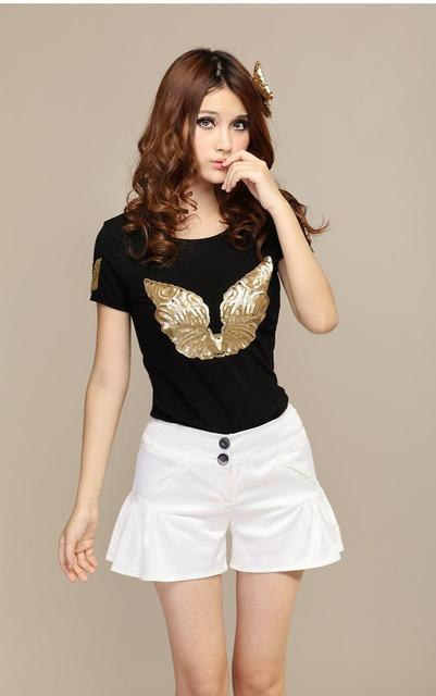 High Fashion Paillette O-neck Short-sleeve T-shirt/ Women's Summer Tee Butterfly/ Girls' Tee Top With Angel Wings