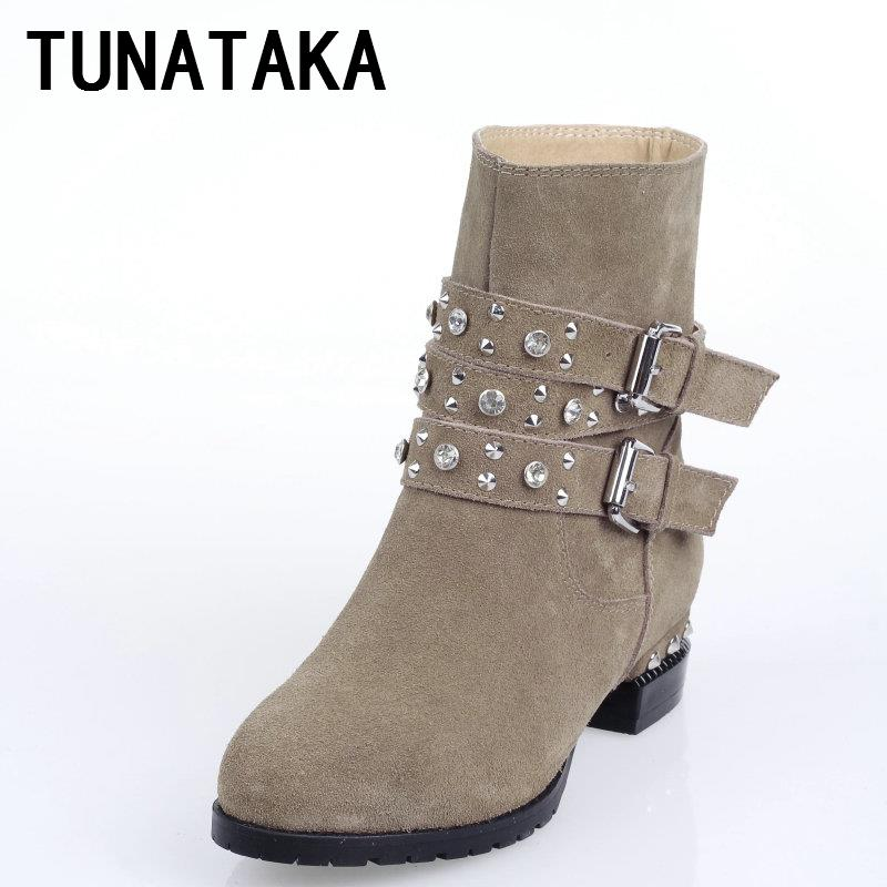Suede Rhinstone Double Buckle Women Flat Ankle Boots Nubuck Leather Fashion Comfortable Shoes(China (Mainland))
