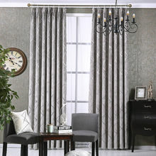 Modern Chenille Grey Curtains for Living Room Luxury Fabric Geometric Drapes for Bedroom Silver Lines Tents Window Treatment(China)