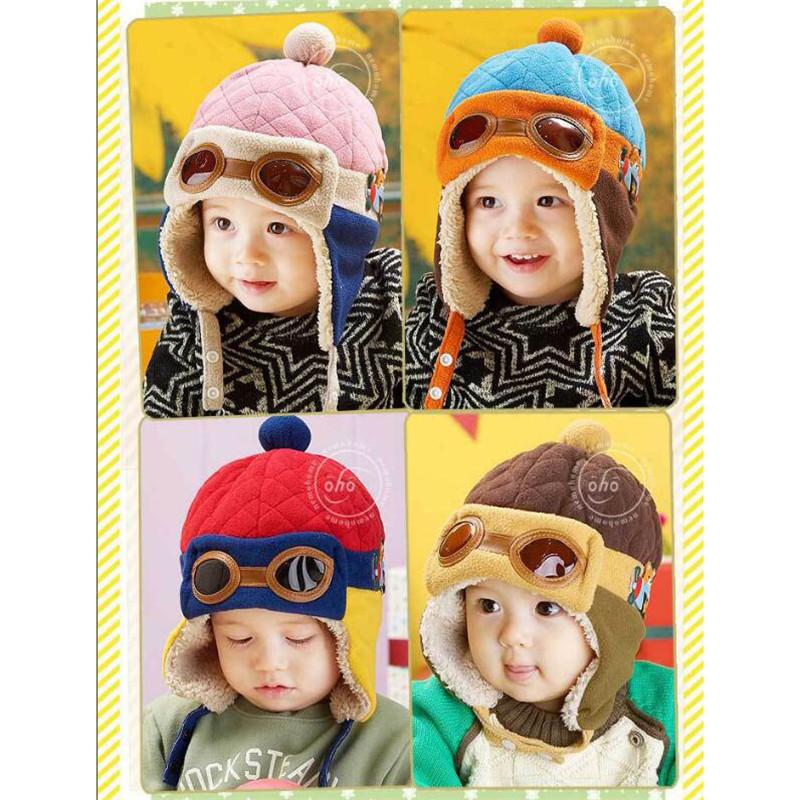 3 Colors Toddlers Baby Winter Warm Hat Cap Beanie Cool Infant Boy Girl Pilot Cap Cute Children Fashion Cotton Hat Cap(China (Mainland))