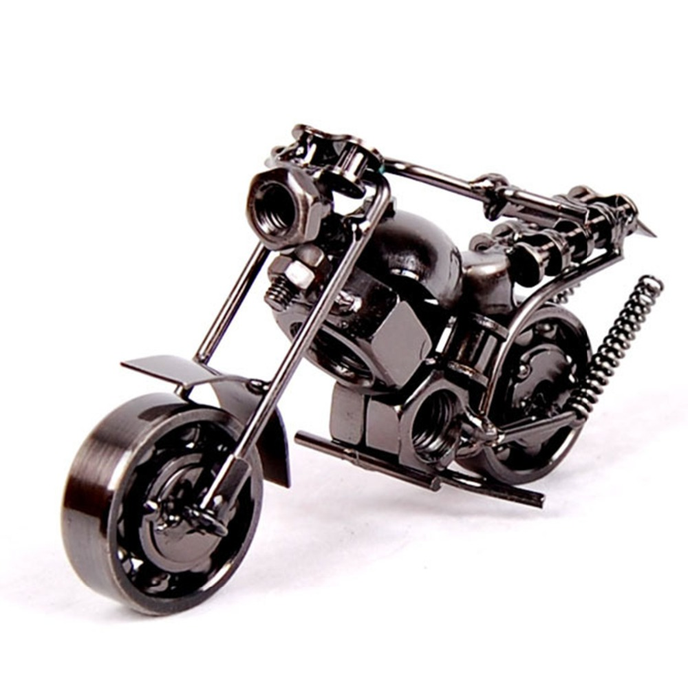 Creative home decoration metal crafts handmade vintage iron motorcycle model collection 2016 new year business gift souvenir(China (Mainland))