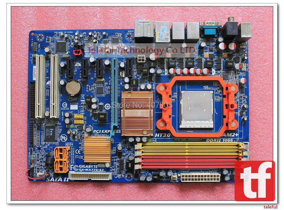 Socket AM2+ AM3 Motherboard for Gigabyte GA-MA770-S3 770+SB700 Chipset DDR2 PC Free shipping(China (Mainland))