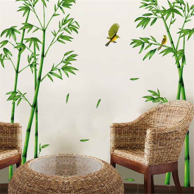 Removable Wall Sticker Bamboo Forest Depths Green Chinese Style DIY Tree Home Decor Decals for Living Room Decoration(China (Mainland))