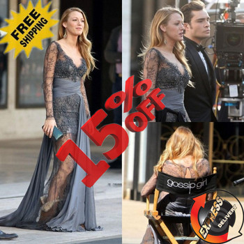 GE521 Customized V Neck Zuhair Murad Gossip Girl Blake Lively Vestidos Long Sleeves Party Evening Dress 2015 Lace Evening Gown