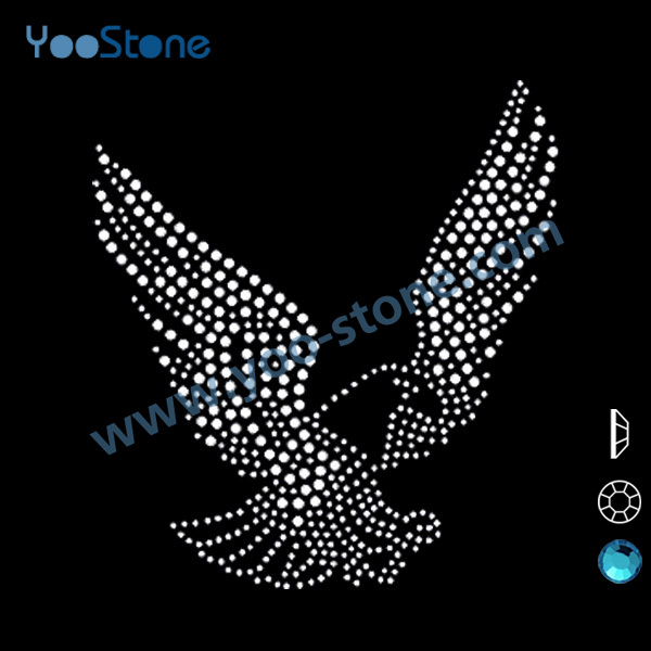 Best Selling Products Eagle Rhinestone Transfer For Tshirt For Garments, Iron On Motif Patches 20 Pcs/Lot(China (Mainland))