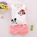 Summer Cartoon Minnie Kids Girls Clothes 2016 Toddler Girl Clothing Set Infant Baby Girl Boutique Clothing
