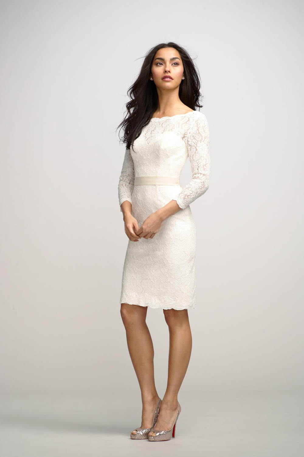 Free shipping three quarter sleeves knee length lace for Knee length wedding dresses with sleeves
