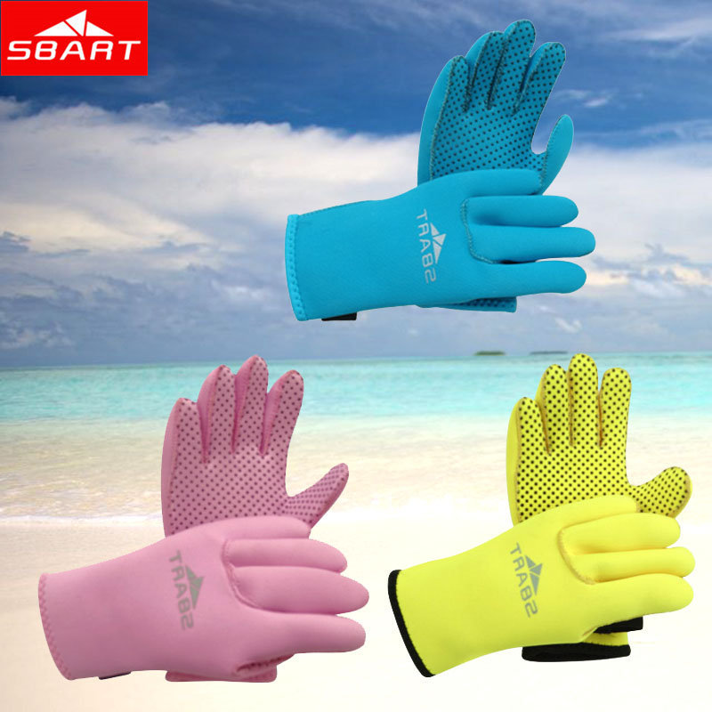 SBART Kids Swim Paddles Boys Girls Webbed 3MM Diving Neoprene Gloves To Swim Water Sports Surf Swim Guantes Buceo Yellow Blue H(China (Mainland))