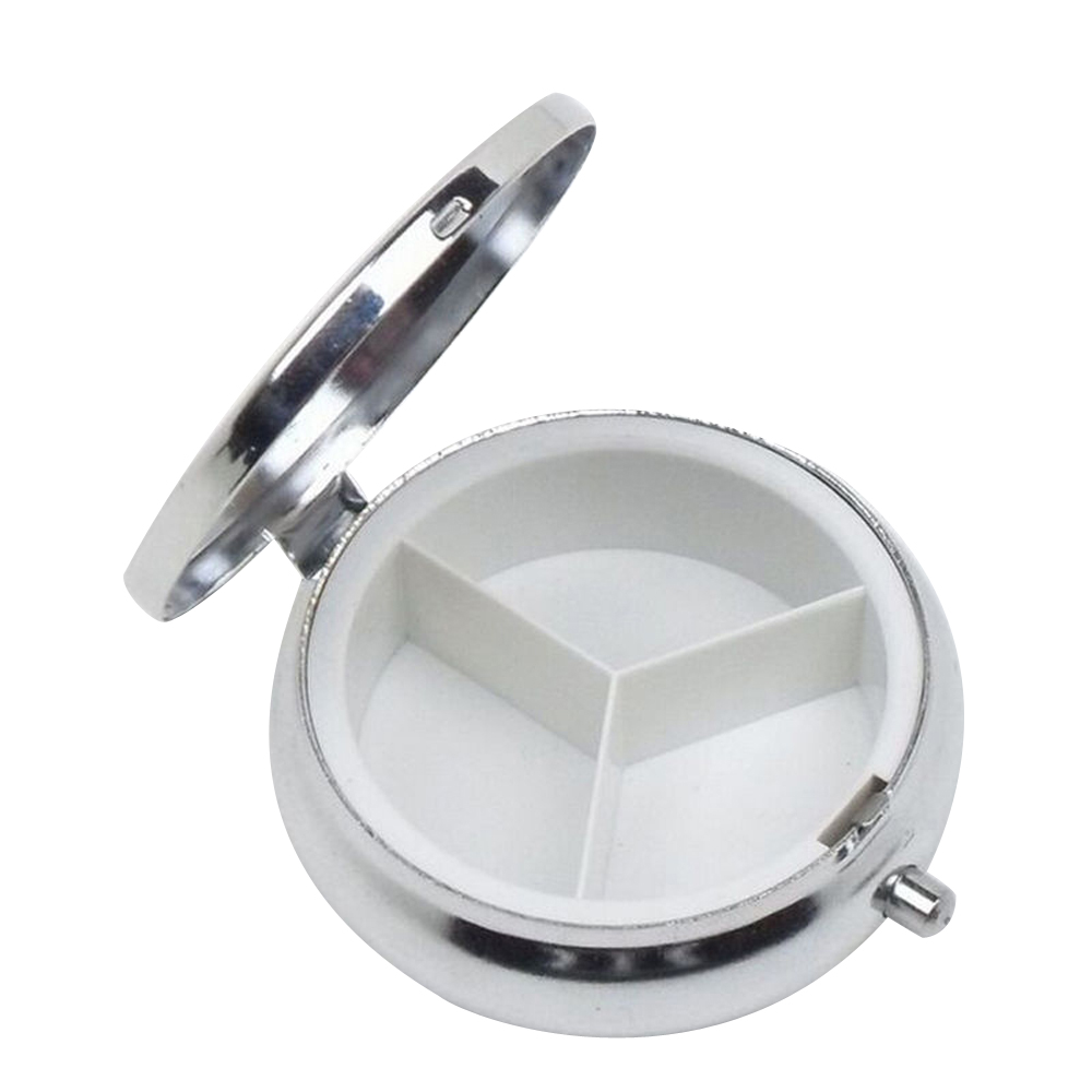 1 Pcs Metal Round Silver Tablet Pill Boxes Holder Advantageous Container Medicine Case Small Case(China (Mainland))
