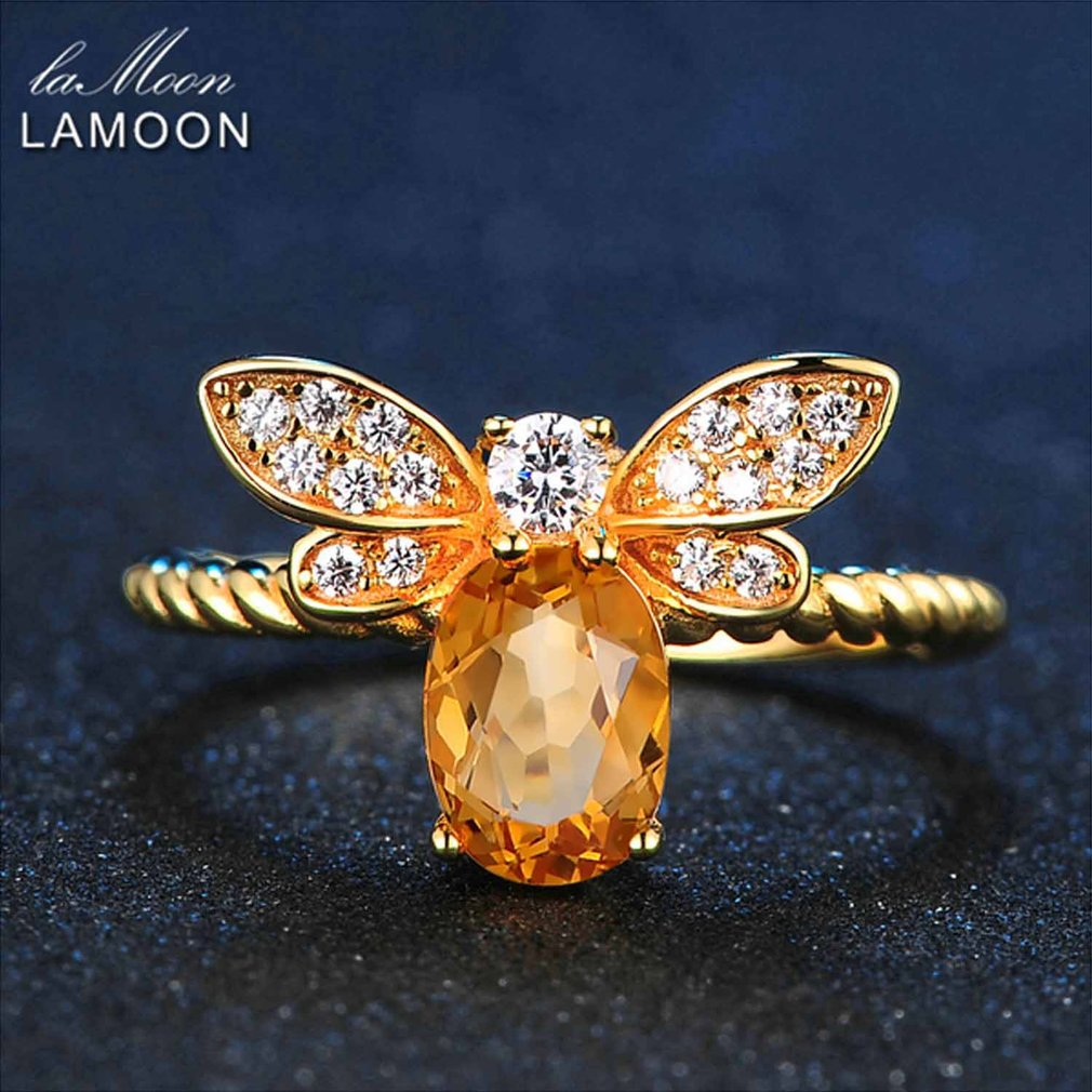 LAMOON Bee Ring Fine Jewelry Pure 925 Sterling Silver Jewelry 1ct Natural Oval Citrine Ring For Women Anniversary Gift(China (Mainland))