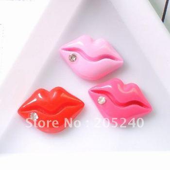 Free shipping! very hot and kawaii resin lips small size  21pcs mixed  for DIY decoration