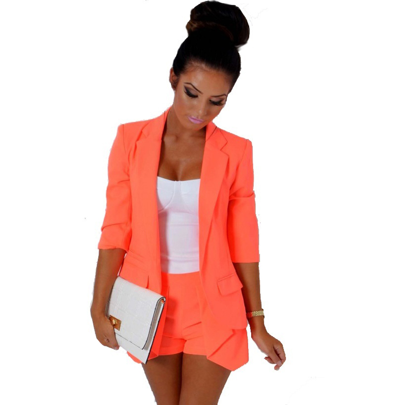 Women uit Set Office Ladies Work Wear Women OL Fashion Solid Color Career Blazer Hot Pant Shorts 2 PCS Set Suit Formal CW5(China (Mainland))