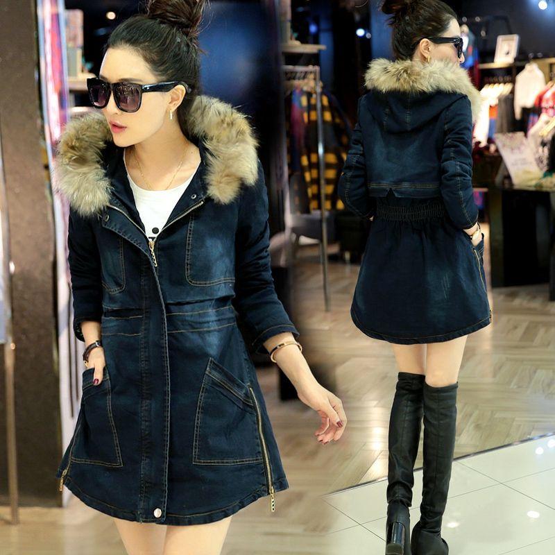 Фотография Women Thicken Long Denim Cotton Coat New Trendy Jeans Winter Coat 2016 Womens Fur Hooded Long Denim Jackets Female Coats H6744