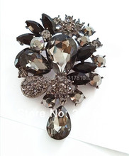 Buy Gun Black Plated Large Grey Rhinestone Crystal Water Drop Vintage Style Pin Brooch ) for $4.49 in AliExpress store