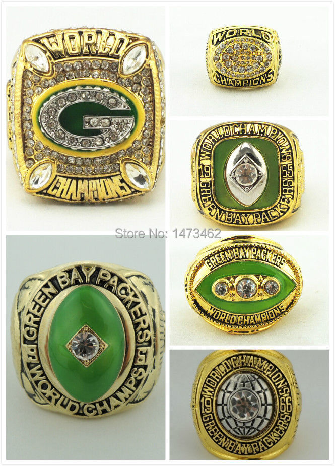 Solid 6pcs/set 1961 1965 1966 1967 1996 2010 Green Bay Packers Super Bowl Championship rings size 11 best gift for fans(China (Mainland))