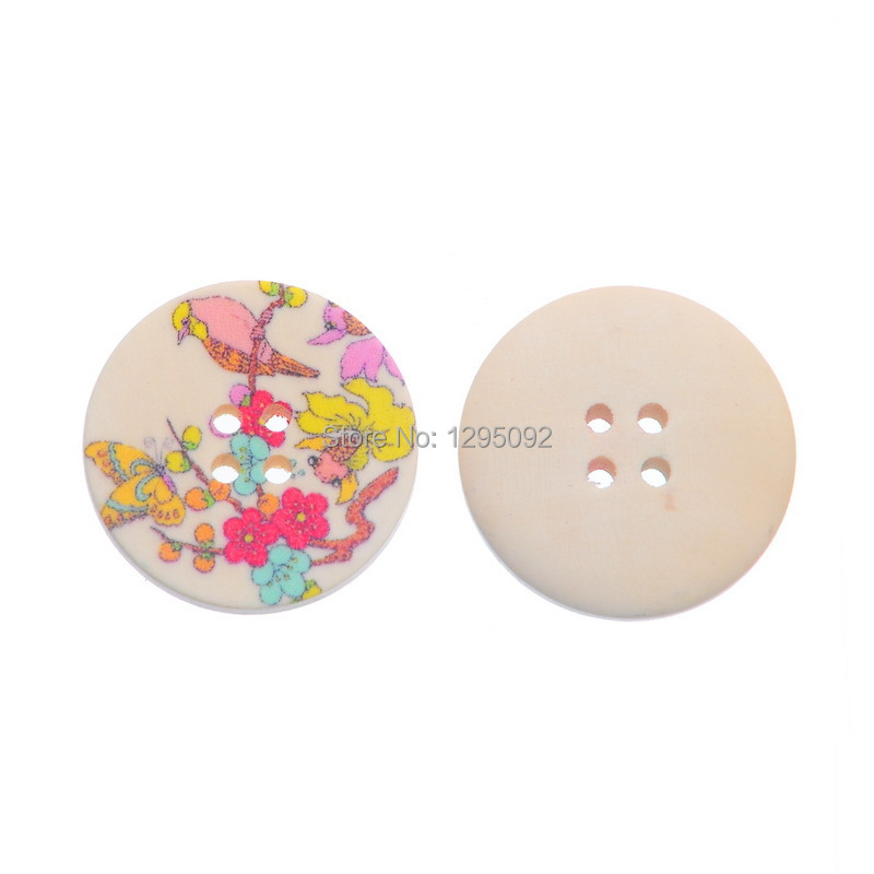 750Pcs Round 4 Holes Wood Sewing Buttons Multicolor Bird Flower Butterfly Pattern Scrapbook Wooden Crafts Findings 30mm(China (Mainland))
