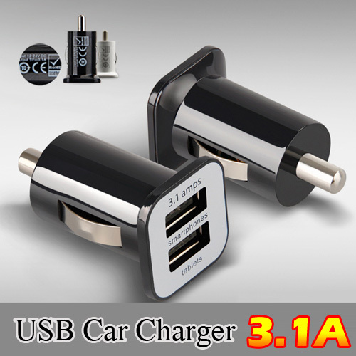 Mini Auto Universal 5V3.1A Dual 2 Port USB Car Charger For iPhone 5 6 6 plus For ipad 2 3 4 5 For Samsung Galaxy S4 S5 note 3 4(China (Mainland))