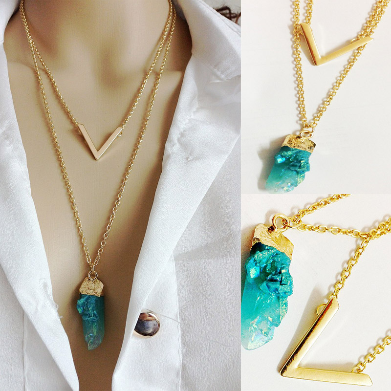 2015 New Fashion Gold Summer Style Multi Layer Chain Hot V shape Imitated Bar Natural Stone Double Chain Necklace for Women (China (Mainland))