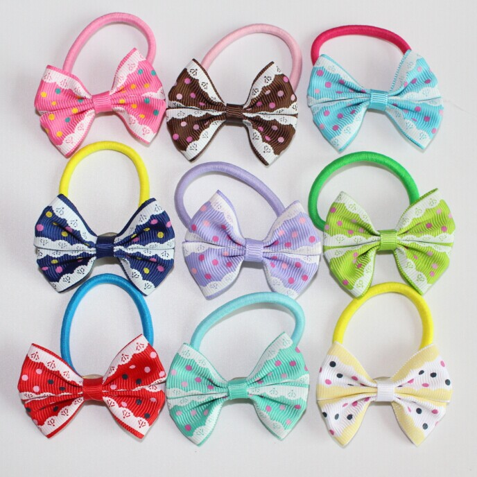 2015 new Dot lace rainbow bow rubber bands hair accessories for girls kids 5pcs/LOT(China (Mainland))