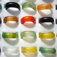 50pcs New Fashion Vintage Band Rings Natural Agate Crystal Ring Jewelry For Women Gifts Wholesale Free Shipping(China (Mainland))