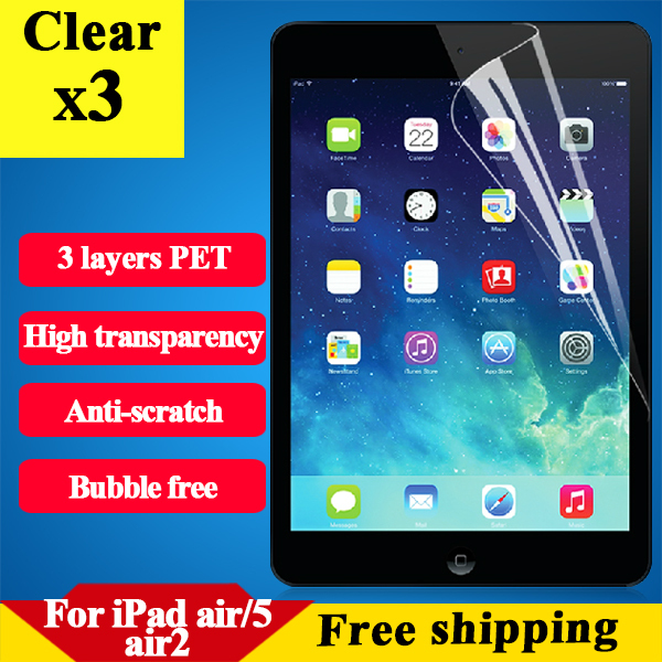 HD clear screen protector for Ipad 5 Ipad air Ipad air 2 anti scratch protective tablet film with retail package 3 pcs a lot(China (Mainland))