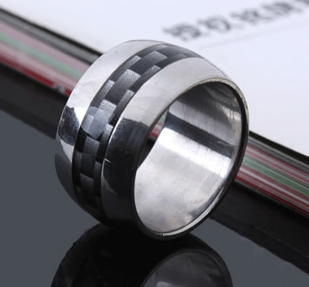 Wide 12mm black grid rings 316L Stainless Steel men finger ring wholesale lots(China (Mainland))