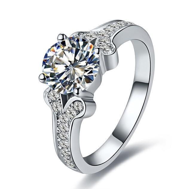 Genuine Gold 14K Brand Jewelry Ring SONA Synthetic Diamond Jewellery for Lady Fine Jewelry Splendid White Gold Anniversary Ring(China (Mainland))