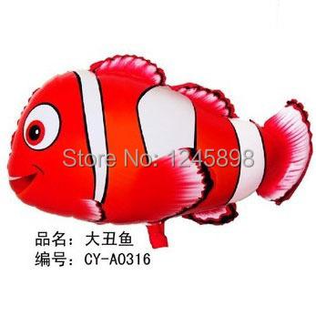 wholesale 50pcs/lot 45*66cm nemo helium balloon party balloons clown fish foil balloons animal shaped mylar balloon(China (Mainland))