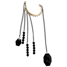 FS Hot 10x Rock Punk Exquisite Black Beads Long ChaIn Tassels Ear Cuff EarRing-Black(China (Mainland))