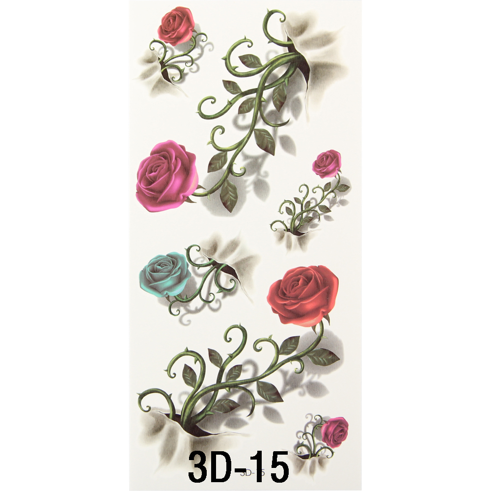 Inspire 3D Body Art Chest Ankle Stickers Glitter Temporary Flash Tattoos Removal Fake Small Rose Leaves Design For Body Painting(China (Mainland))