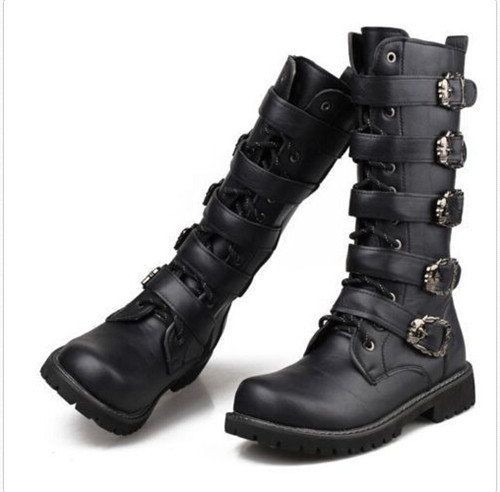 Fashion Hot Mens Buckle Lace Zippered Riding Motocycle Combat Biker Militerry Knee High Boots