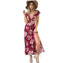 Buy Women summer style dress Fashion Retro Sexy Deep V Neck Short Sleeve High Waist Backless Floral Split Maxi Dress 63 for $10.67 in AliExpress store