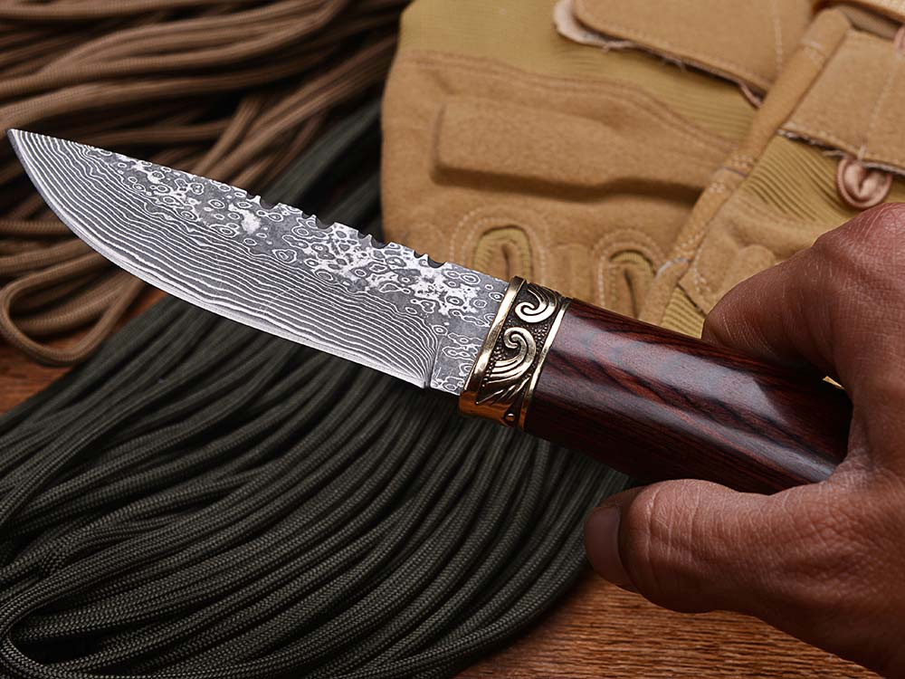 Buy WTT Damascus Outdoor Survival Fixed Blade Knife With Damascus Steel Blade Wood Handle Pocket Hunting Tactical Straight Knives cheap