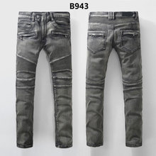 2016 new fashion men biker jeans famous brand design slim fit ripped jeans big size robin jeans male(China (Mainland))