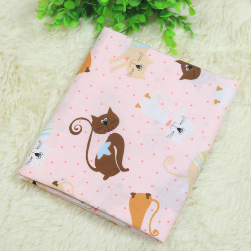 Cat cartoon printing Plain weave Cotton fabric for sewing Patchwork Fabric Diy Cloth for Patchwork quilts Tilda Cloth(China (Mainland))