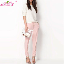 2015 Brand Chiffon Pants Summer Women Pants Candy Casual Harem Pants Elastic Waist Plus Size Women Trousers Pantalones WK0104(China (Mainland))