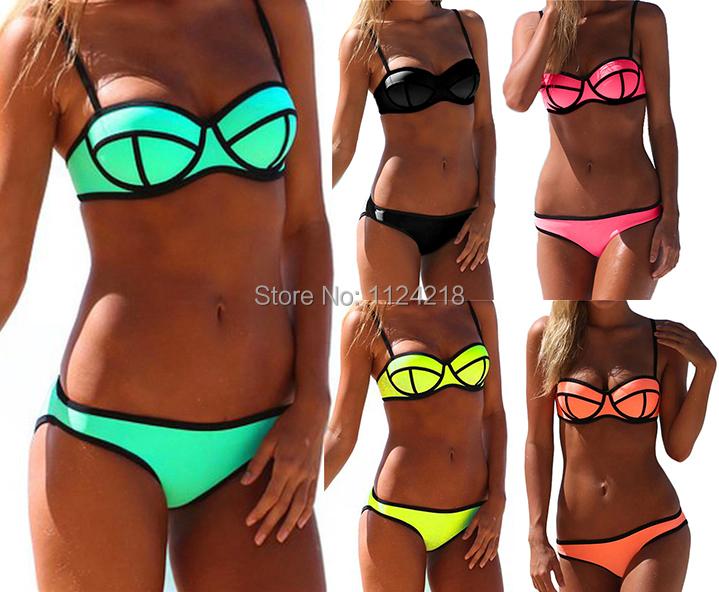2015 NWT Women Sexy Push up Bright Diving Suit Padded Bikini Set Swimsuit Swimwear(China (Mainland))
