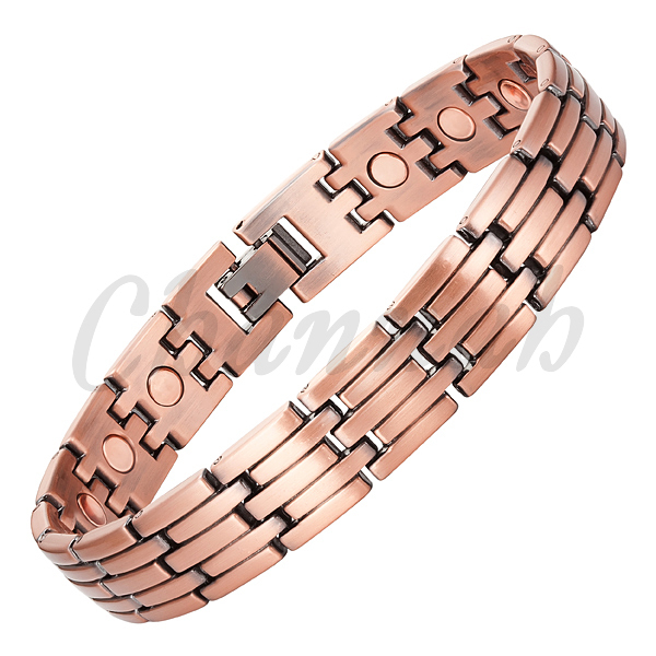 2016 Men 17pieces Magnets Copper Plated Magnetic Bio Bracelet Healing Link Chain Bangle Jewelry Free Shipping via Hong Kong Post(China (Mainland))