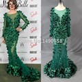 Real Picture 2016 Flowers Petal Emerald Green Prom Dress Beautiful Mermaid Navy Blue Dresses For Prom