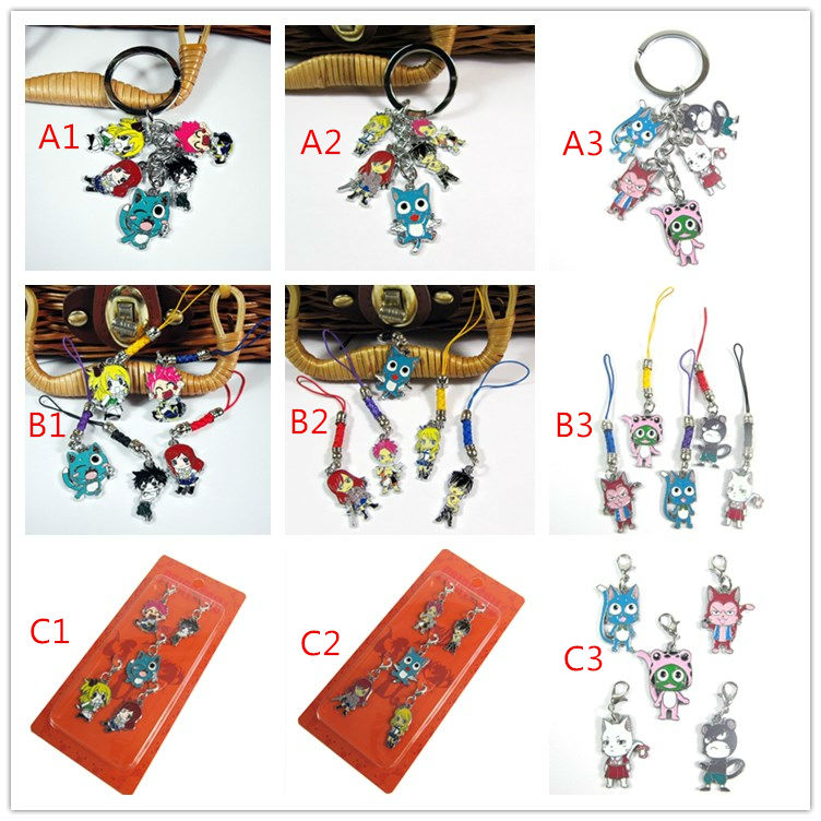 120 sets  FAIRY TAIL Natsu Happy Lucy keychains anime alloy phone straps free shipping by DHL