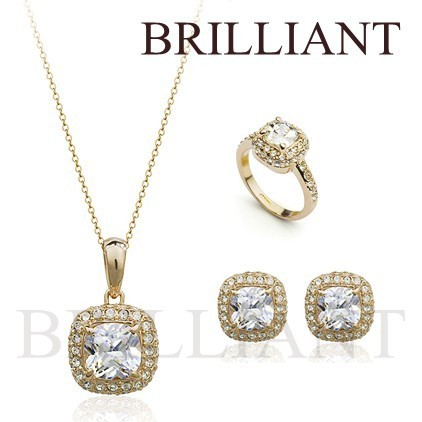 BS191 Square Full CZ Diamond Jewelry Sets 18K Gold Plated Austria Synthetic Gemstone Set Necklace Earrings Ring wedding jewelry - Brilliant store