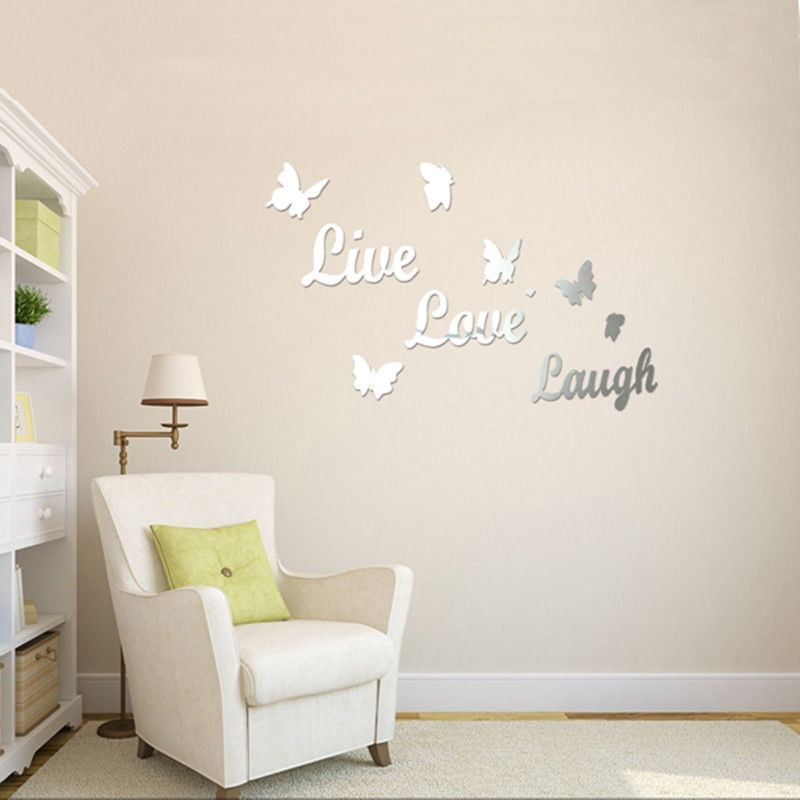 Fashion Mirror Live Laugh Love wall art sticker quote wall decor wall decal words butterflies(China (Mainland))
