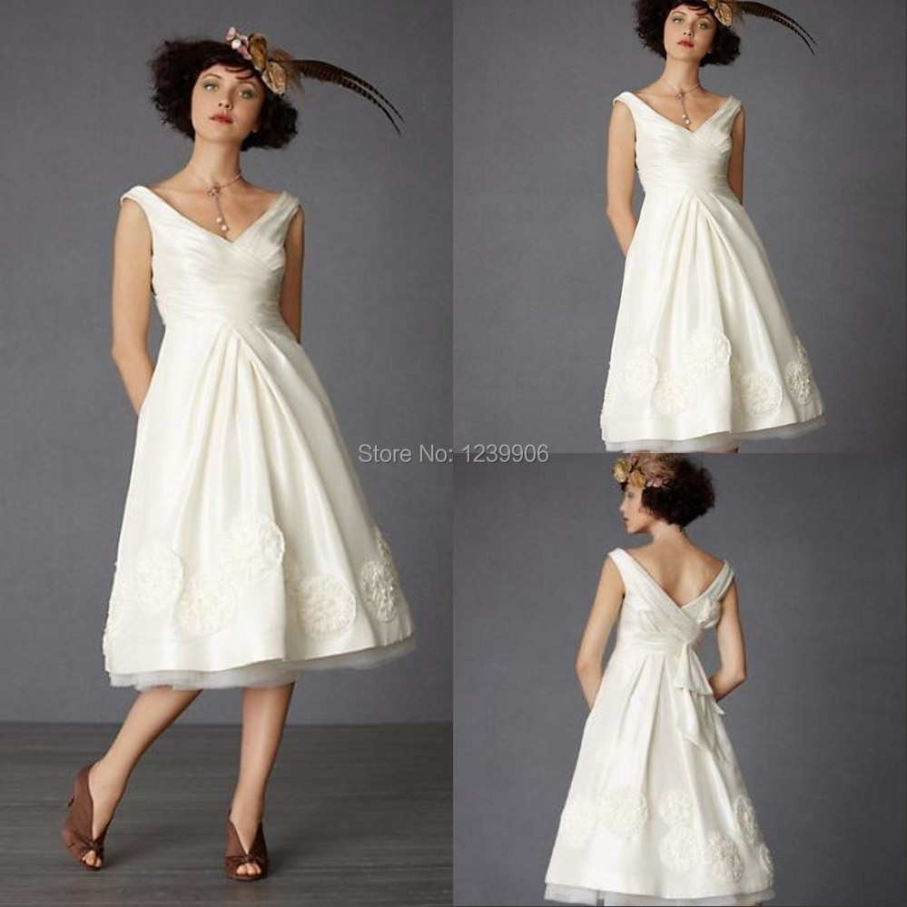 2015 v neck sleeveless a line vintage simple wedding gowns for Simple tea length wedding dresses