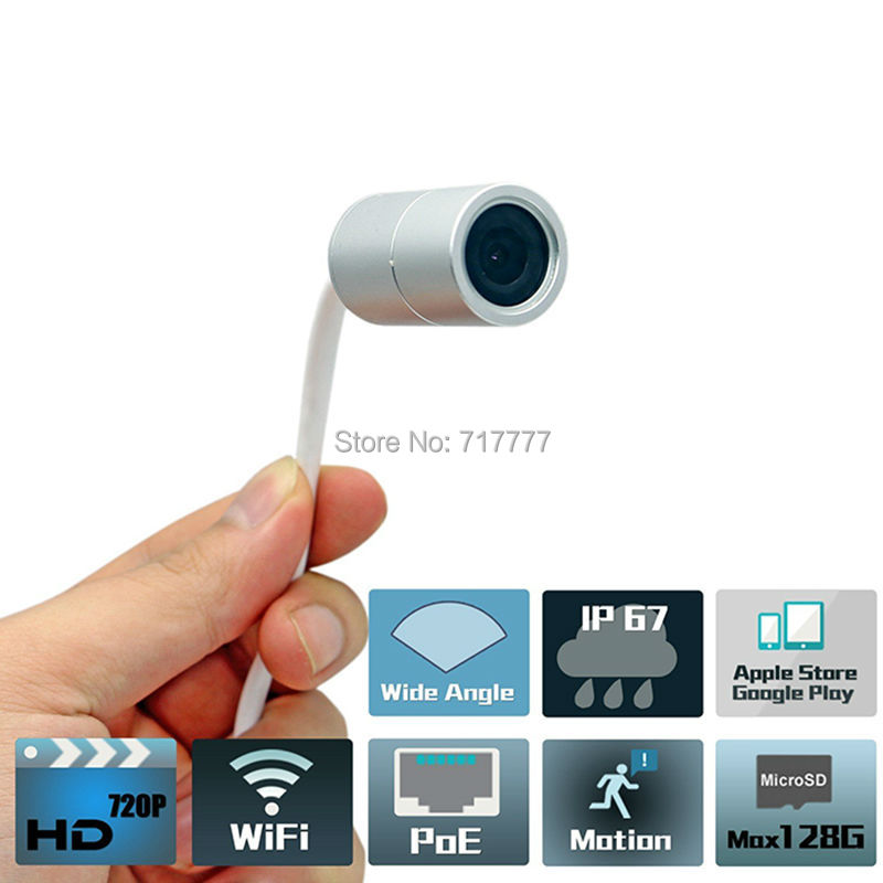 1MP outdoor waterproof IP67 WIFI wireless poe Pin Hole concealed IP camera IOS & Android APP p2p Onvif(China (Mainland))
