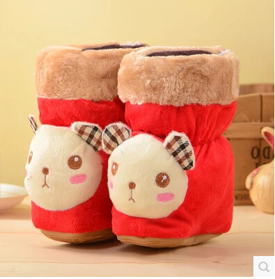 With thick warm winter baby boots fur knitting wool toddler girl children shoes baby shoes in Baby First walk baby shoes(China (Mainland))
