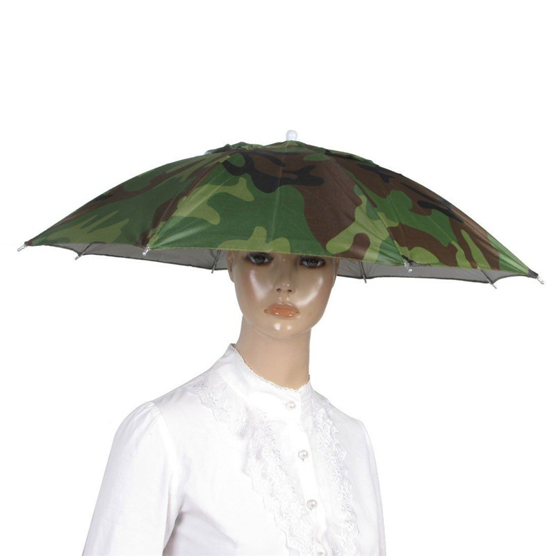 Outdoor Sport Umbrella Hat Cap Fishing Hiking Beach Camping Headwear Cap Head Hats Camouflage Foldable Sun Umbrellas(China (Mainland))