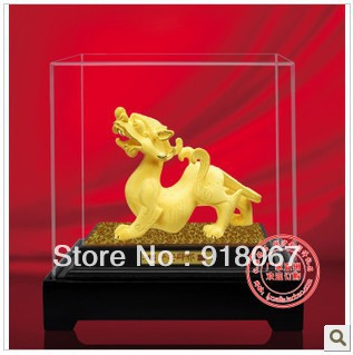 YZ-R060 24K gold craft/ Gold Handicraft/corporate gift/fengshui Chinea sculpture handwork animal money Pi Xiu office decor(China (Mainland))