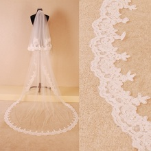 2016 New Arrival Franch Lace Tulle White Ivory Wedding Veils With Comb Pears 1.5 metres Two Layers Bridal Veils(China (Mainland))