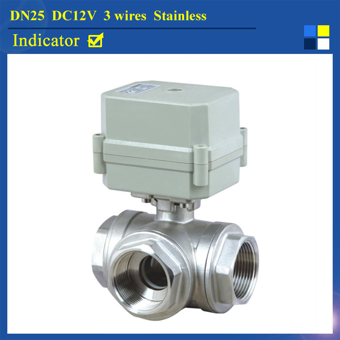 "Фотография TF25-S3-C DC12V 3 Wires 3-Way Motorized Bll Valve BSP/NPT 1""  L Type DN25 SS304 Motor Operated Valve With Position Indicator"